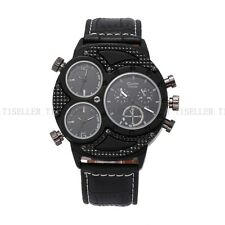 OULM Three Time Zones Military Sport Analog Leather Wrist Men's Watch FAST SHIP