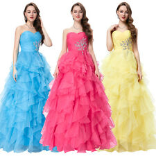 Bridesmaids Strapless Organza Party Gown Prom Evening Dress Formal Luxury Long