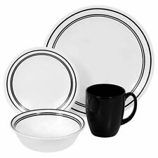 NEW 16-Piece Dinnerware Set,Classic Cafe Black For Four By Corelle Livingware