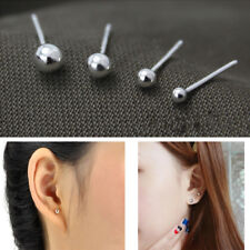 2mm-8mm 925 Sterling Silver Solid Ball Bead Round Tiny Stud Earrings Fashion