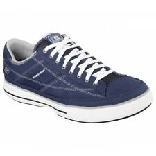Skechers ARCADE CHAT MEMORY Mens Canvas Lace Up Casual Trainers Shoes Navy/White