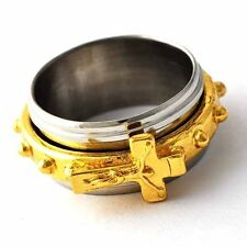 Mystic Mens Stainless Steel Cross Gold Plated Spinner promise Ring Size 8-12