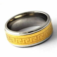 Mystic stainless steel Gold plated Mens Carve Stripe Band Ring Size 8 9 10 11 12