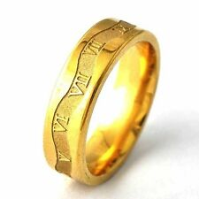 Mens Mystic Yellow Gold Filled Carve Rome Digital vintage Ring Size 8 9 10 11