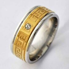 Mens Stainless Steel Gold Plated CZ Arab Type hip-hop Band Ring Size 8 9 10 11