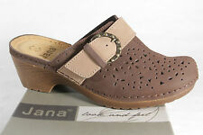 Jana Women Clogs Sabot Mules Low shoes Leather brown NEW