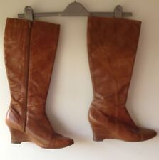 Clarks Tan Leather Wedge Long Boots - Brogue Detailing - Uk Size 77