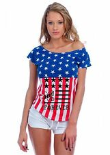 Women's Drop Sholder Usa Flag American Forever 4th Of July Tee