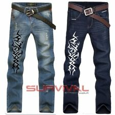 Mens Designer Jeans Straight Leg Dark Blue NEW Size 30 32 34 36 White Tattoo