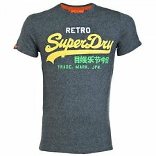 Superdry Mens Vintage Logo Retro Crew T-Shirt Cotton Grit Navy (#10135)