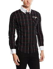 Doublju Mens Long Sleeve Slim Fit Plaid Shirt