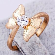 trendy womens Crystal 14K gold filled Lovely bow Band rings size 5 7 8 9