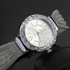 Women Bangle Bracelet Stainless Steel Crystal Dial Analog Quartz Wrist Watche 1x