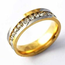 Mens 1-Row Clear Crystal 14K gold filled Silver Plated Band Ring Size 7-11