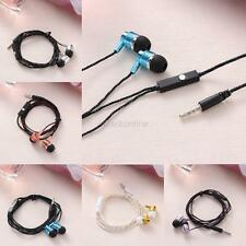 New 3.5mm Braided Stereo Earbud Earphone Headphone With Mic For Music & Phone