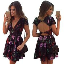 Sexy Women Deep V Backless Floral Cocktail Evening Party Pleated Mini Dress S-XL