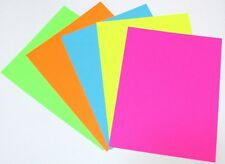 Bright Color Cardstock Paper 8 1/2 x 11 Hot Pink Lime Green Yellow Blue Orange