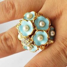 Womens 14K gold filled CZ White Pearl Blue Enamel Flower Big Ring Size 7-9