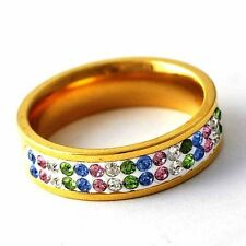 Trendy Womens 14K gold filled Cubic Zirconia Rainbow Band Ring Size 6-9
