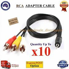 2.5mm Male Plug Jack to 3 RCA Adapter Audio Converter AUX Video AV Cable Wire OZ