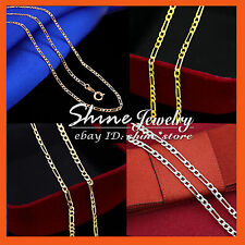 18K YELLOW ROSE WHITE SILVER GOLD GF FIGARO CURB CHAIN SOLID NECKLACE pendant