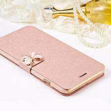 Luxury Slim Wallet Silk Leather Stand Flip Case Cover Cellphone Protective Skin