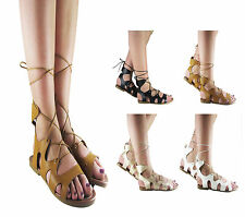 NEW LADIES WOMENS FLAT STRAPPY LACE UP SUMMER GLADIATOR SANDAL SHOES SIZE 3-8