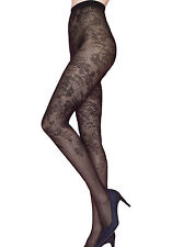 Sexy Floral Tights Patterned 40 Denier Fancy Pantyhose Black Hosiery Bloom Fiore