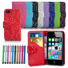 Diamond Wallet Cover For Apple iPhone 4 / 4S Glitter Flip Bling Case &Stylus Pen
