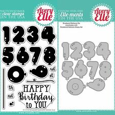 "Avery Elle ""NUMBERED BALLOONS"" Clear Stamps Only OR Clear Stamp and Die Bundle"
