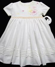 SARAH LOUISE 2T, 3T SMOCKED WHITE DRESS W/PINK & YELLOW FLORAL EMBROIDERY~NWT'S
