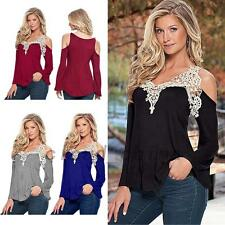Crochet Lace Cold Shoulder Women's Night Out Cub Party Tank Top T-shirt Stretch