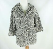 BCBG Max Azria Small Medium Gray Knit Cardigan Sweater Textured Collared Blanket