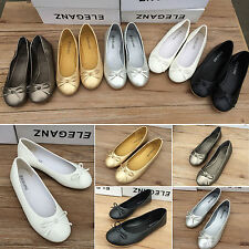Womens Bow Flat Designer Dolly Slip On Shoes Ballet Ballerina Work Pumps Flats