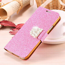 Bling Glitter PU Leather Flip Card Holder Case Cover For Samsung Galaxy S5 I9600