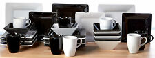 Dinner Set Square Black White 32 Piece Dinner Side Plates Bowls Mugs Guests Xmas