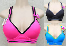 Plus Size Sports Bra 1XL 2XL 3XL Underwire Push Up Keyhole Racerback 5619X