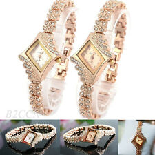 Womens Fashion Rose Gold Crystal Watches Alloy Band Bangle Bracelet Wrist Watch