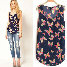 Wholesale Women Butterfly Print Sleeveless Chiffon Tank Top Shirts Vest Blouse