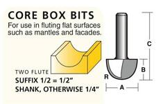 Carb-I-Tool Core Box Router Bits - High Speed - Solid Carbide or Carbide Tipped