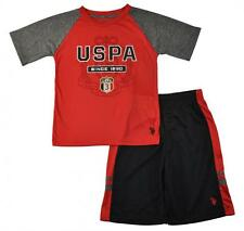 US Polo Assn Big Boys Red Dry Fit Top 2pc Short Set Size 8 10 12 $38
