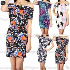 New Womens Ladies Floral Cap Sleeve Bardot Off Shoulder Tunic Bodycon Mini Dress