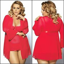 3pc AU Stock Sexy New Complete Babydoll Underwired Robe & G-string Plus Size Set