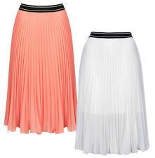 New ex Topshop Pleated Floaty Chiffon Skirt in Coral Pink or White Was £38