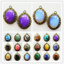 wholesale! Exquisite Bronze Inlay 25x18mm Mixed Gemstone Oval Pendant Bead HY-38