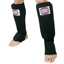 Combat Sports Shin Guards Slip On Insteps - Black