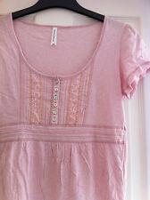 Size 10 Marks & Spencer Pale Pink Cotton Summer Top, Ribbon Trim & Buttons