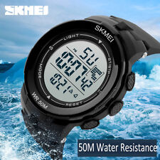 Waterproof Sport Men's Army Digital Black Alarm Rubber Strap Mens Wrist Watch AU