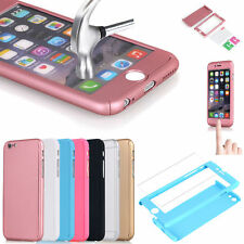 Ultra Thin 360° Full Body Protective Cover Case Tempered Glass For iPhone Models