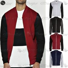 Mens Long Sleeve Bomber Fleece Sweatshirt Baseball Zipper Side Pockets Jacket